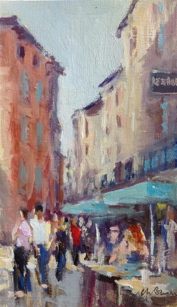 """A pedestrian street"" original fine art by Christine Bayle"