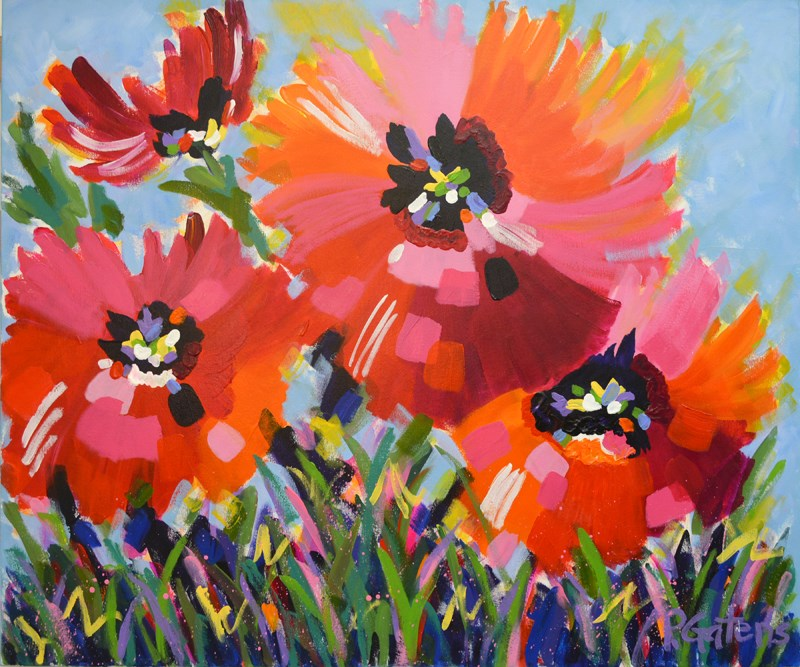 """Red Poppy Garden"" original fine art by Pamela Gatens"