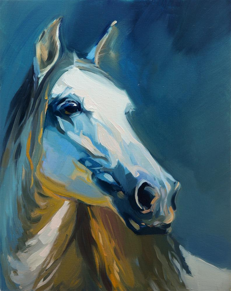 """blue horse"" original fine art by Beata Musial-Tomaszewska"