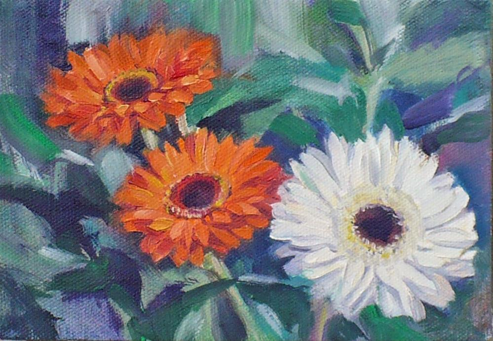 """Figuring out Gerberas"" original fine art by Nicoletta Baumeister"
