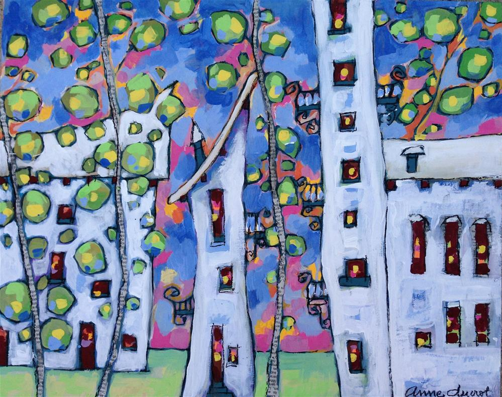"""Blue Town"" original fine art by Anne Ducrot"