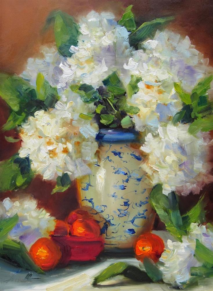 """Hydrangeas and Cuties"" original fine art by Pat Fiorello"