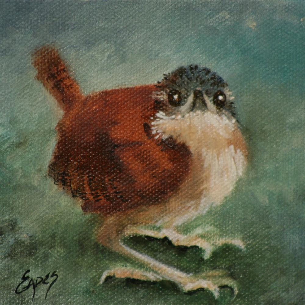 """Baby Carolina Wren 2"" original fine art by Linda Eades Blackburn"