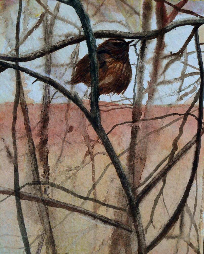 """Blustery Rainy Winter Wren"" original fine art by Susan Duda"