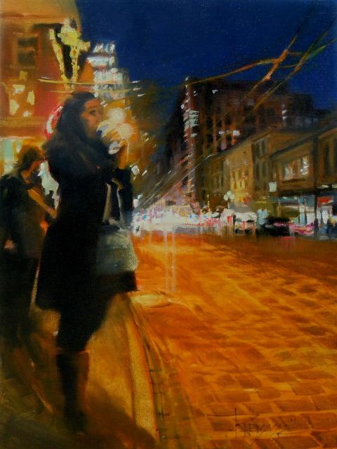 """Midnight Coffee  Seattle city scenes, urban oil painting,"" original fine art by Robin Weiss"