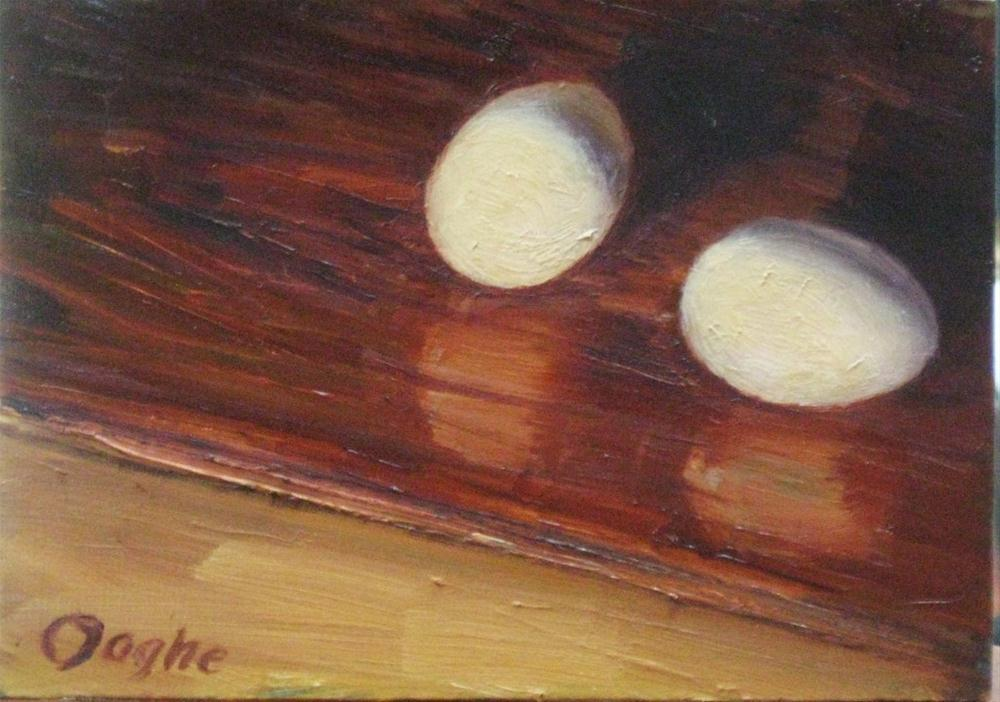 """Eggs on a pine Board"" original fine art by Angela Ooghe"