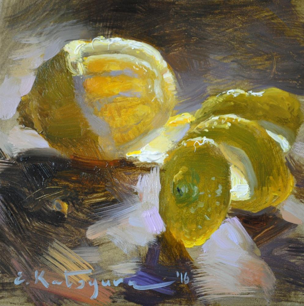 """Lemon on Dark"" original fine art by Elena Katsyura"