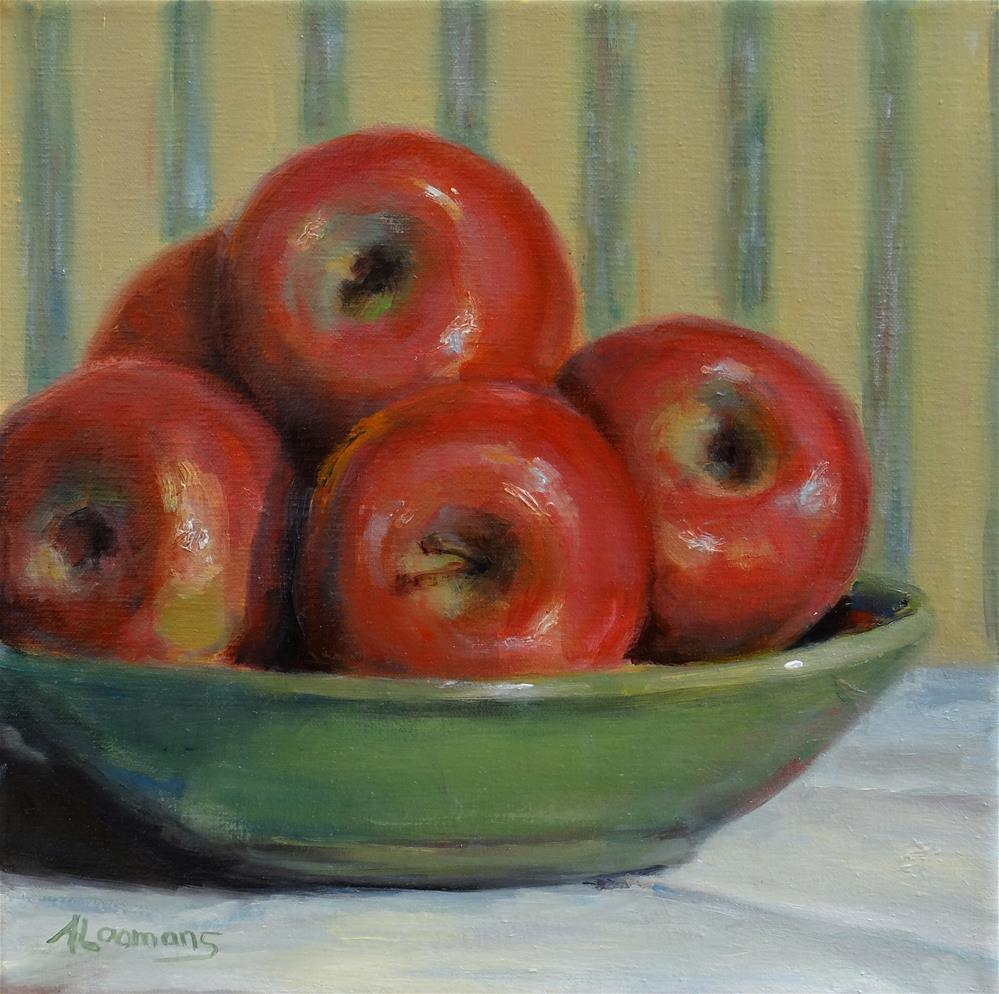 """Apples in a Green Bowl"" original fine art by Adele Loomans"