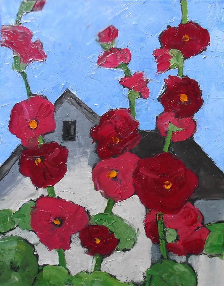 """Hollyhock Cottage"" original fine art by lynne french"