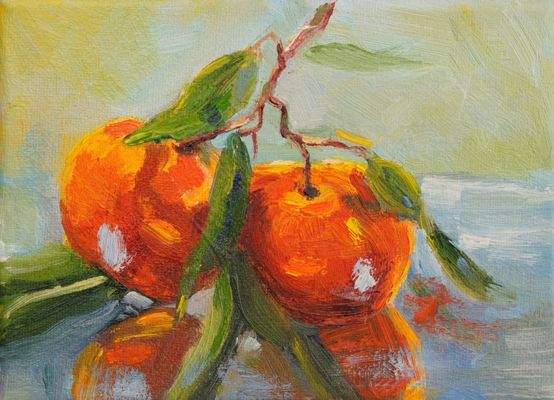 """Juicy duo, clementine still life oil painting"" original fine art by Marion Hedger"