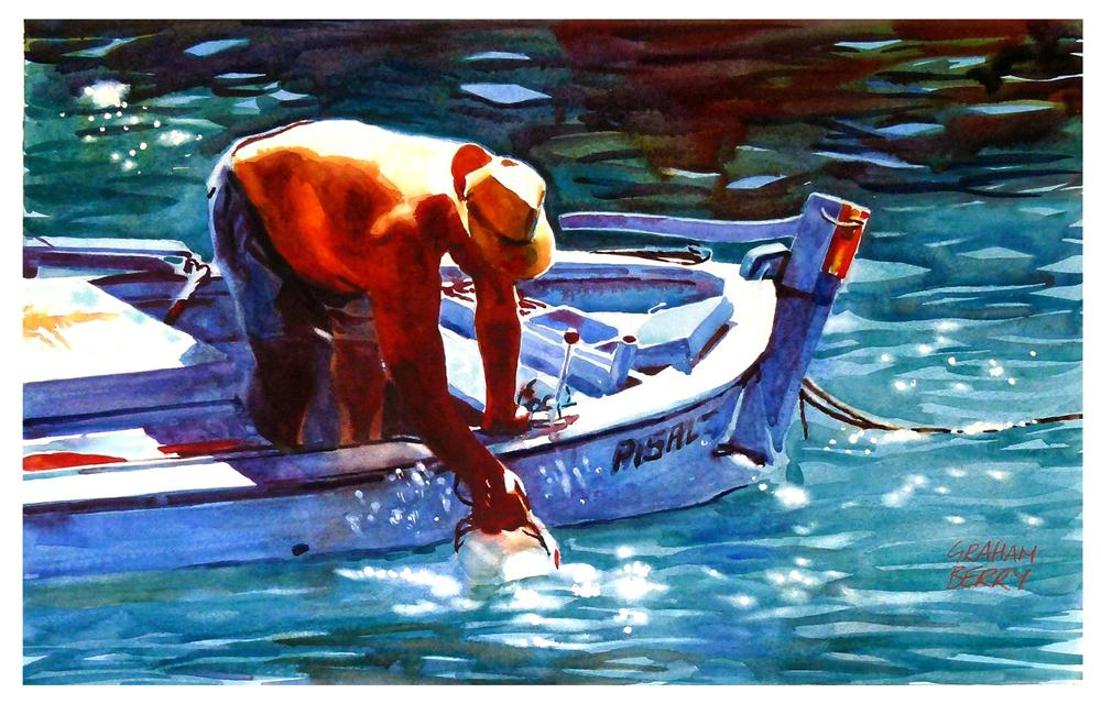 """Washing the boat"" original fine art by Graham Berry"