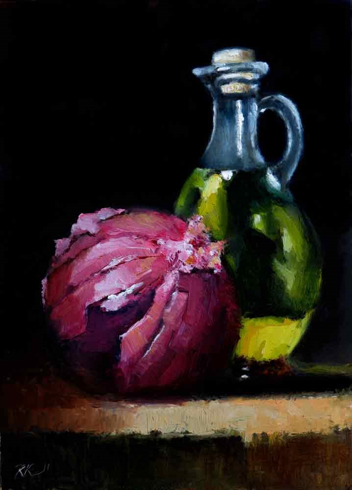 """Garlic Oil and Red Onion"" original fine art by Bob Kimball"