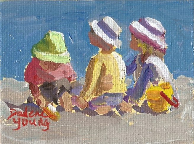 """937 Beach Kids, miniature, 2.5x3.5, oil on board"" original fine art by Darlene Young"