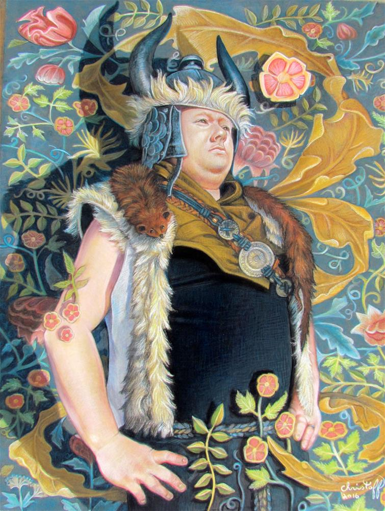 """Listening to Nobuo Uematso"" original fine art by emily Christoff-Flowers"