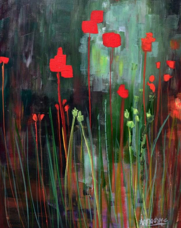 """Abstract Environmental Art Flower Painting Memory Garden  by International Abstract Expression Art"" original fine art by Arrachme Art"