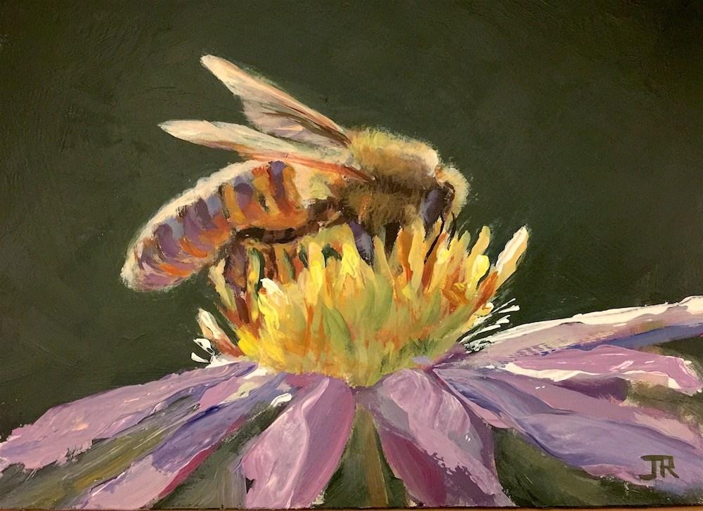 """""""Busy Bee"""" original fine art by June Rollins"""