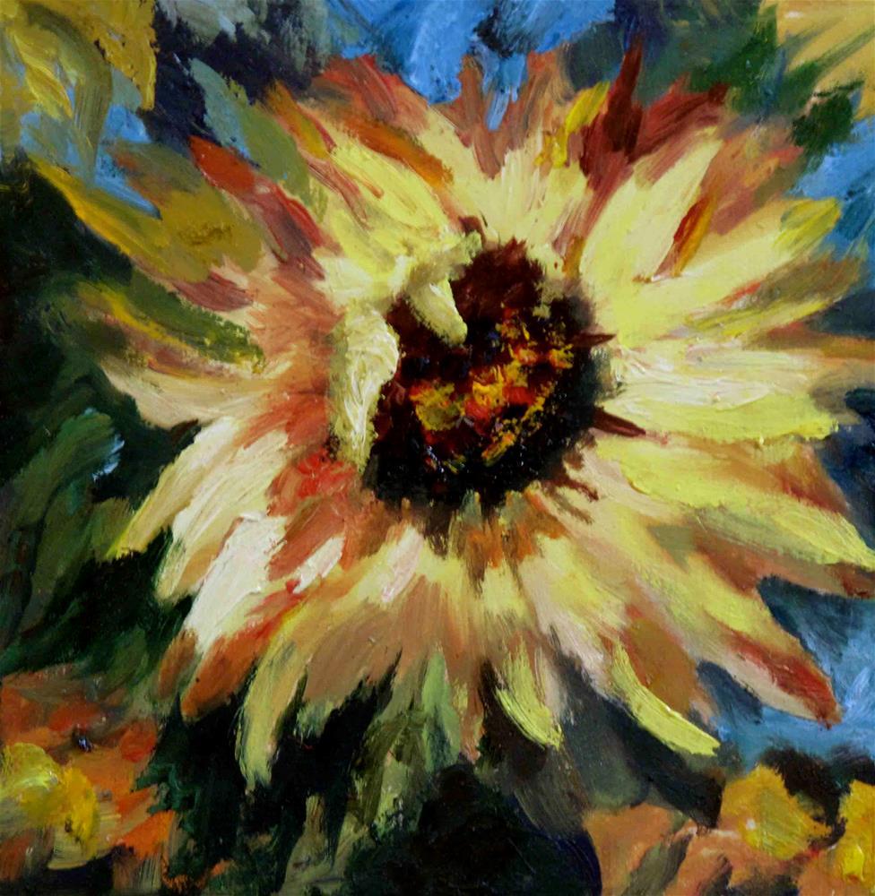 """""""Sunflower in oil"""" original fine art by Diane Fujimoto"""