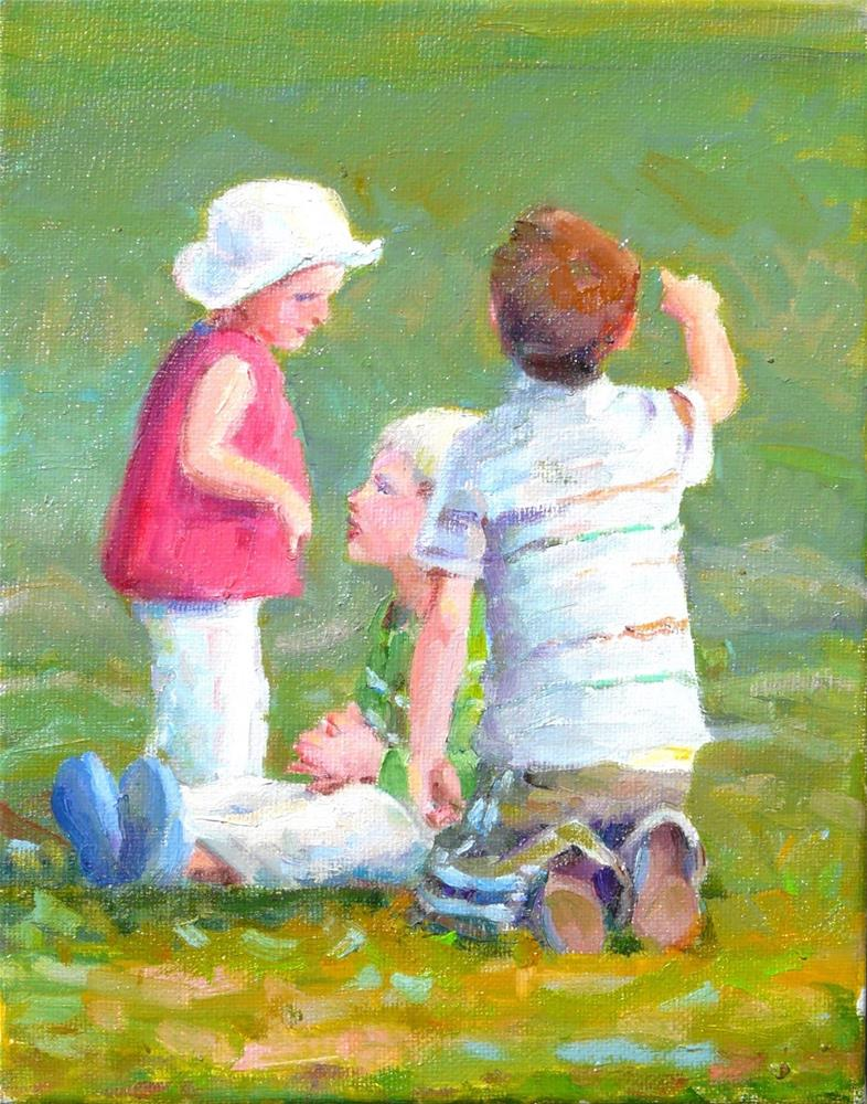 """At the Park,figures,oil on canvas,10x8,price$350"" original fine art by Joy Olney"