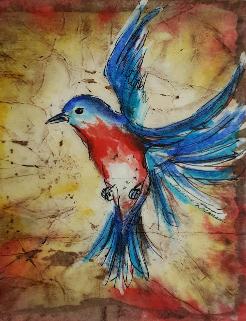 """Bluebird in Flight"" original fine art by Tammie Dickerson"