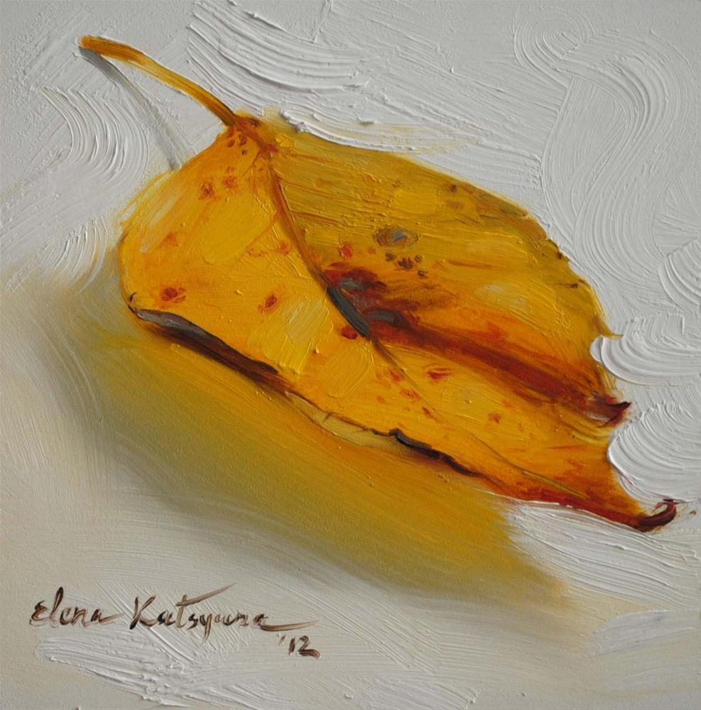 """Yellow Leaf"" original fine art by Elena Katsyura"