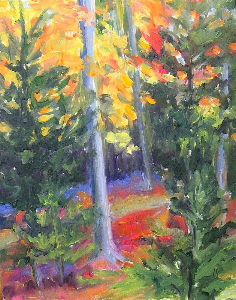 """""""Woods With Yellow"""" original fine art by Lynne Schulte"""