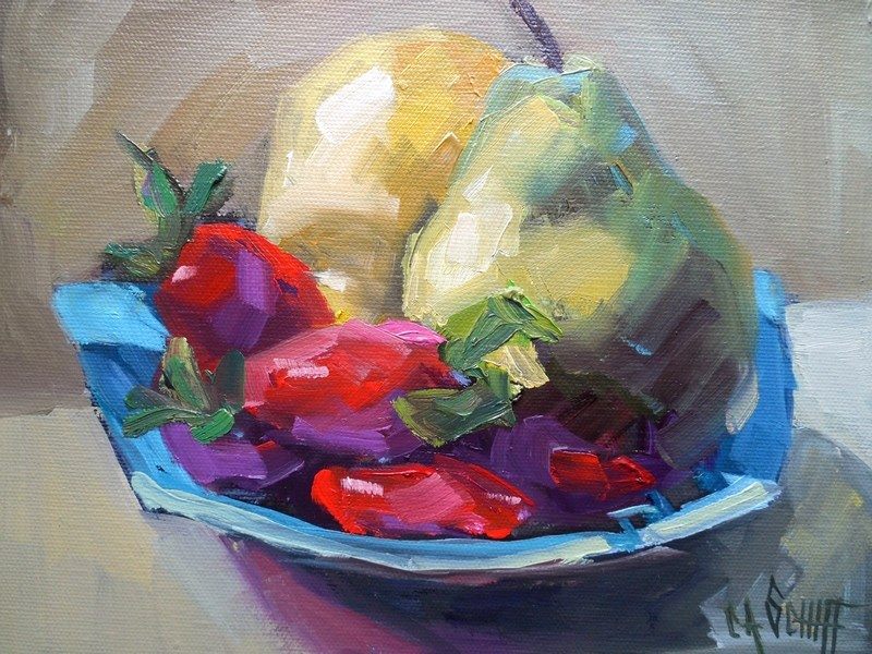 """Impressionist Fruit Still Life, Daily Painting, Small Oil Painting, 8x10x1.5 Oil on Gallery Wrap Can"" original fine art by Carol Schiff"