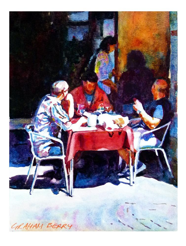 """Red tablecloth"" original fine art by Graham Berry"