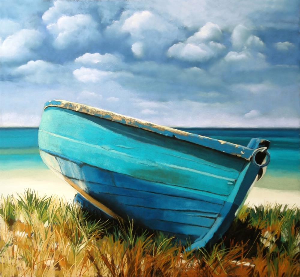 """""""Blue Boat"""" original fine art by Ria Hills"""