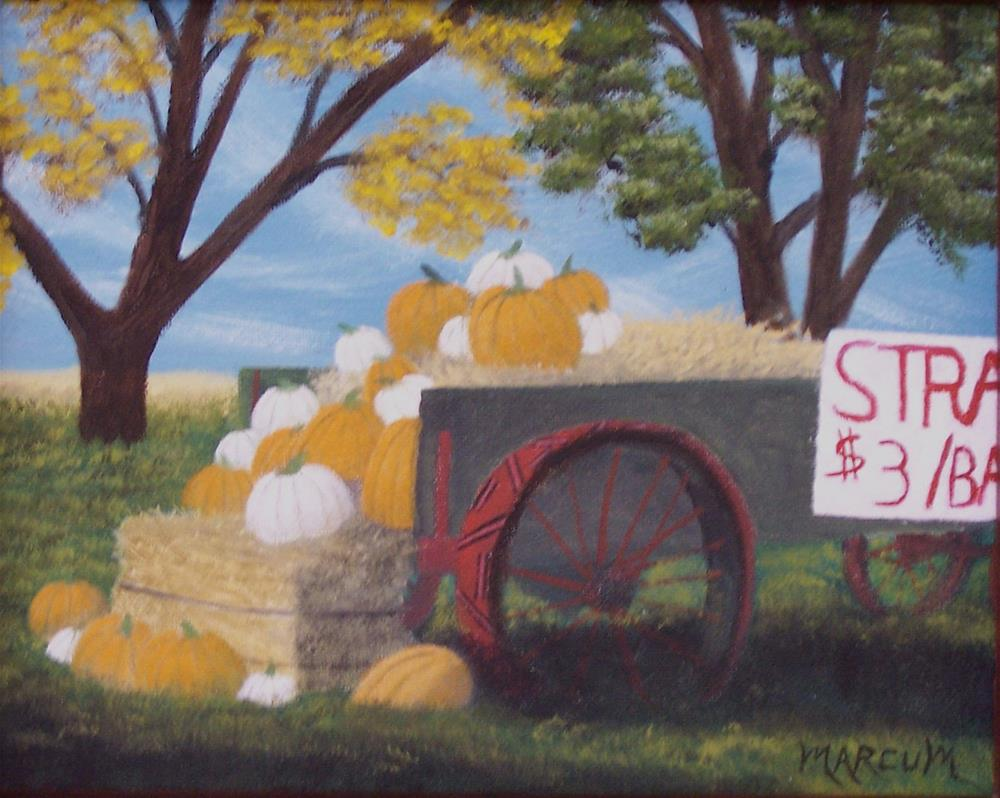 """Wagon with Pumpkins"" original fine art by John Marcum"