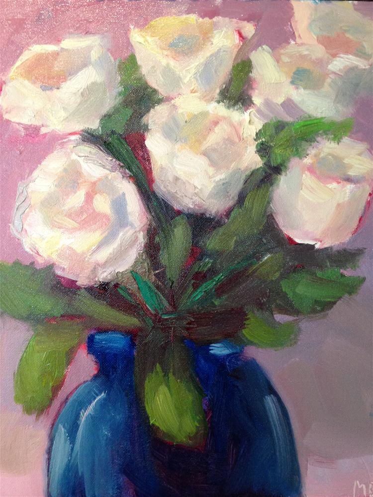 """White Roses"" original fine art by Marcia Bergtholdt"