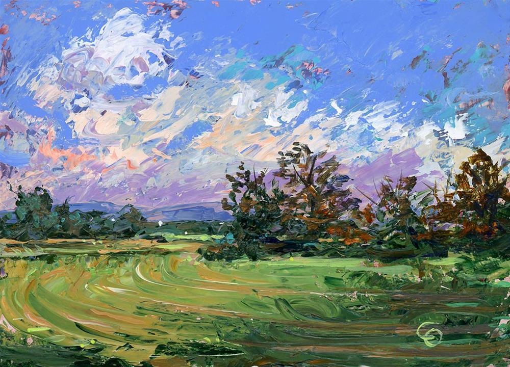 """""""Green Fields at Milton Tennessee"""" original fine art by Chris Ousley"""