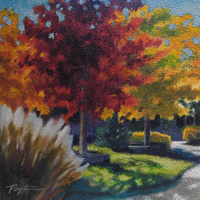 """Autumn13 longshadow10x10"" original fine art by Jan Poynter"
