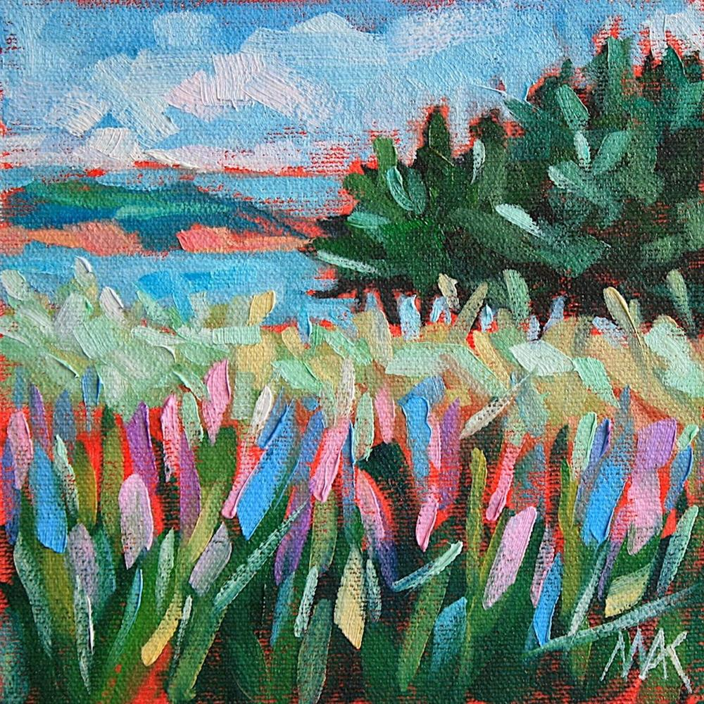 """Lupines by the Sea"" original fine art by Mary Anne Cary"