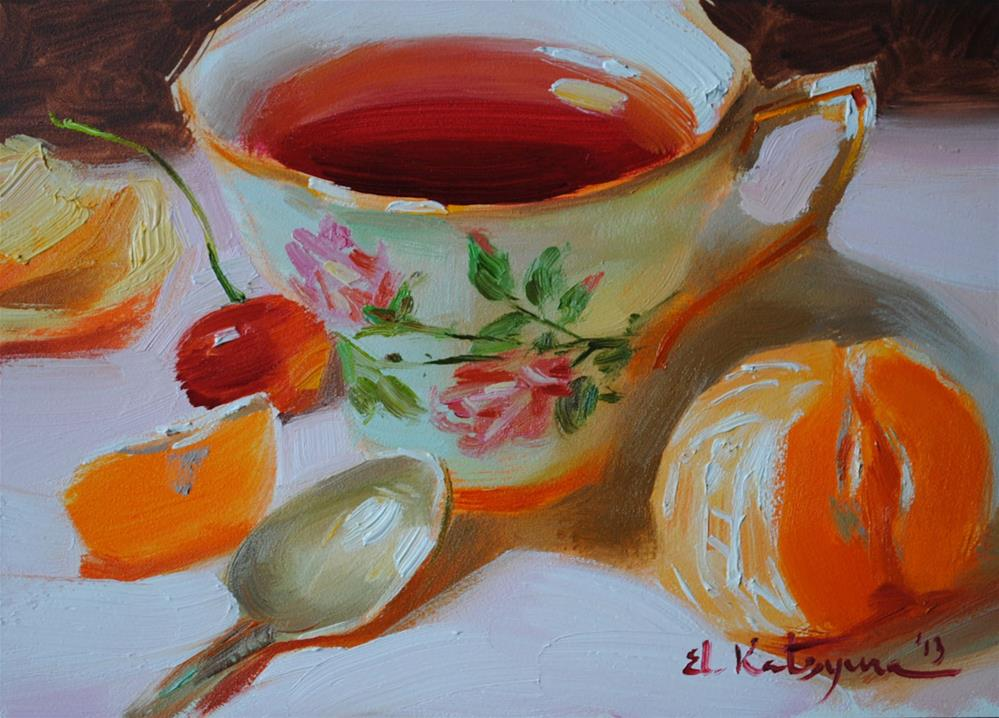 """Karkade Tea"" original fine art by Elena Katsyura"