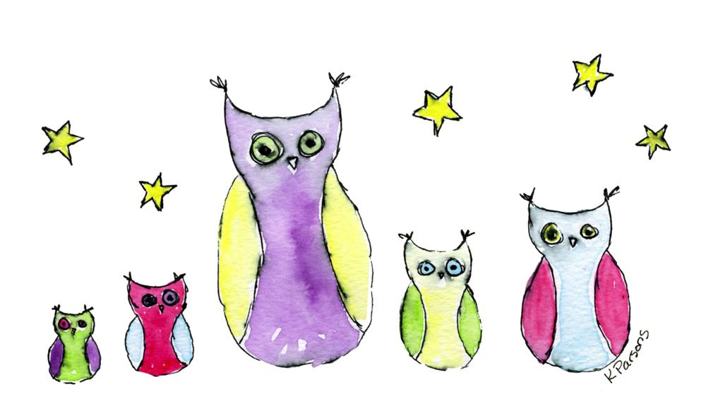 """Owls in a Row"" original fine art by Kali Parsons"