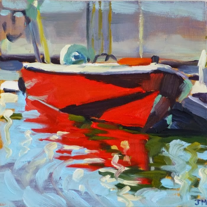 """Little Red Boat"" original fine art by Jessica Miller"