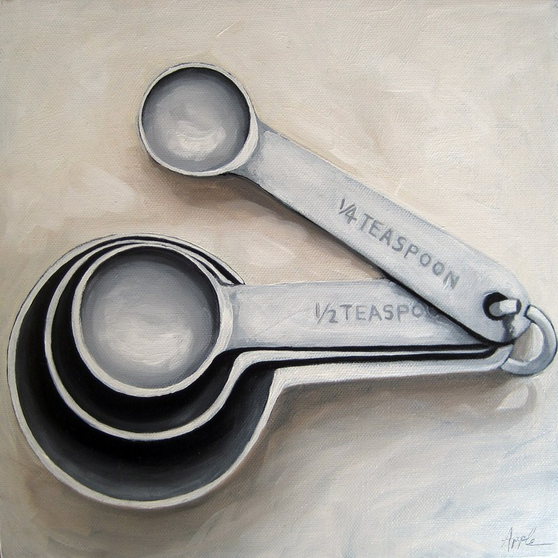 """Vintage Measuring Spoons - realisim still life oil painting"" original fine art by Linda Apple"
