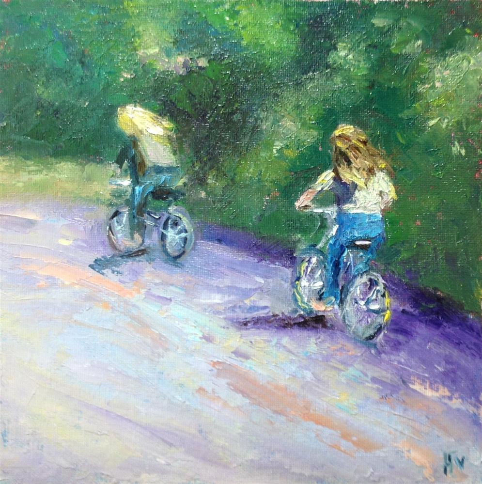 """Lubec Bicyclers"" original fine art by Helen Viebrock Hamel"