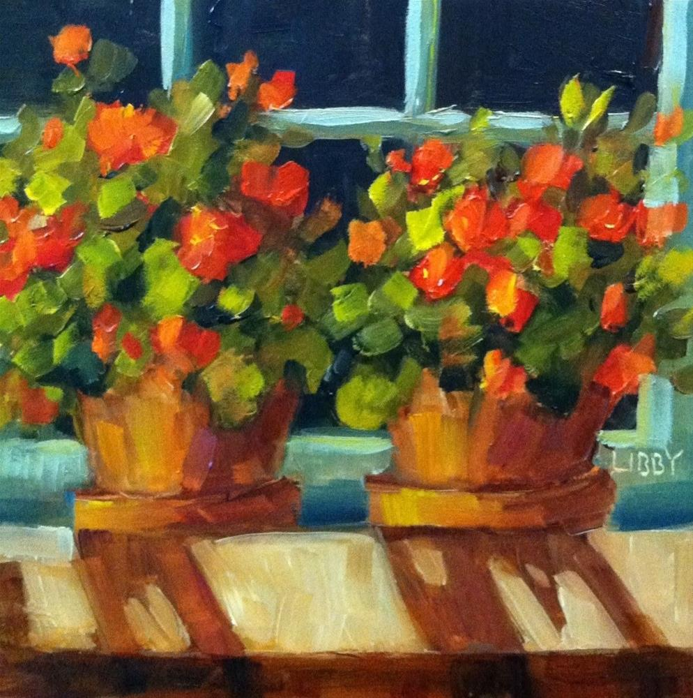 """Geranium Window"" original fine art by Libby Anderson"