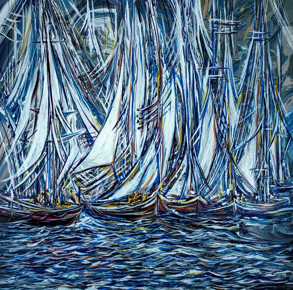 """Boats Lines"" original fine art by Khrystyna Kozyuk"
