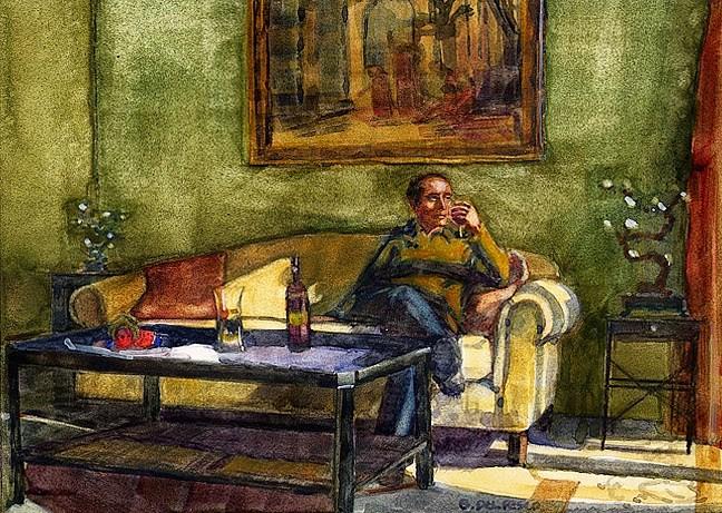 """Watercolor: Study for Wine at Mandola Rosa (& Gift Ideas for Artists)"" original fine art by Belinda Del Pesco"