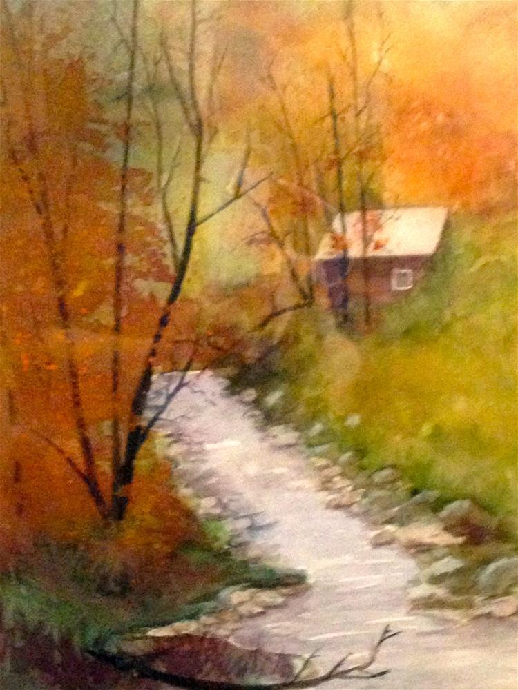 """cabin by the brook"" original fine art by Betty Argiros"