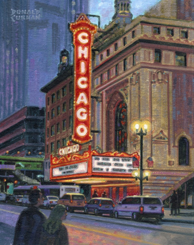 """Chicago Theatre"" original fine art by Donald Curran"