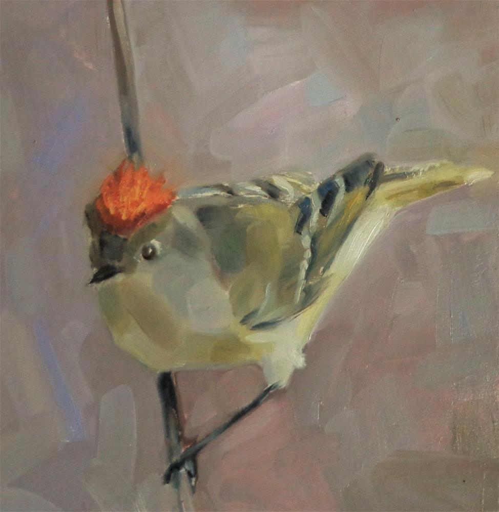"""Ruby-crowned kinglet"" original fine art by Maria Z."