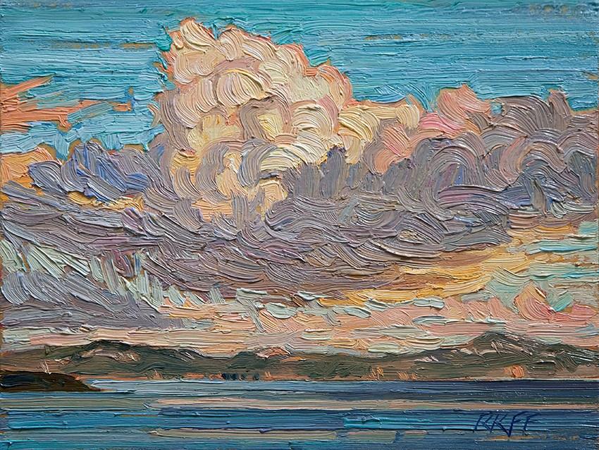 """Snow Clouds: 6x8 oil on panel"" original fine art by Ken Faulks"