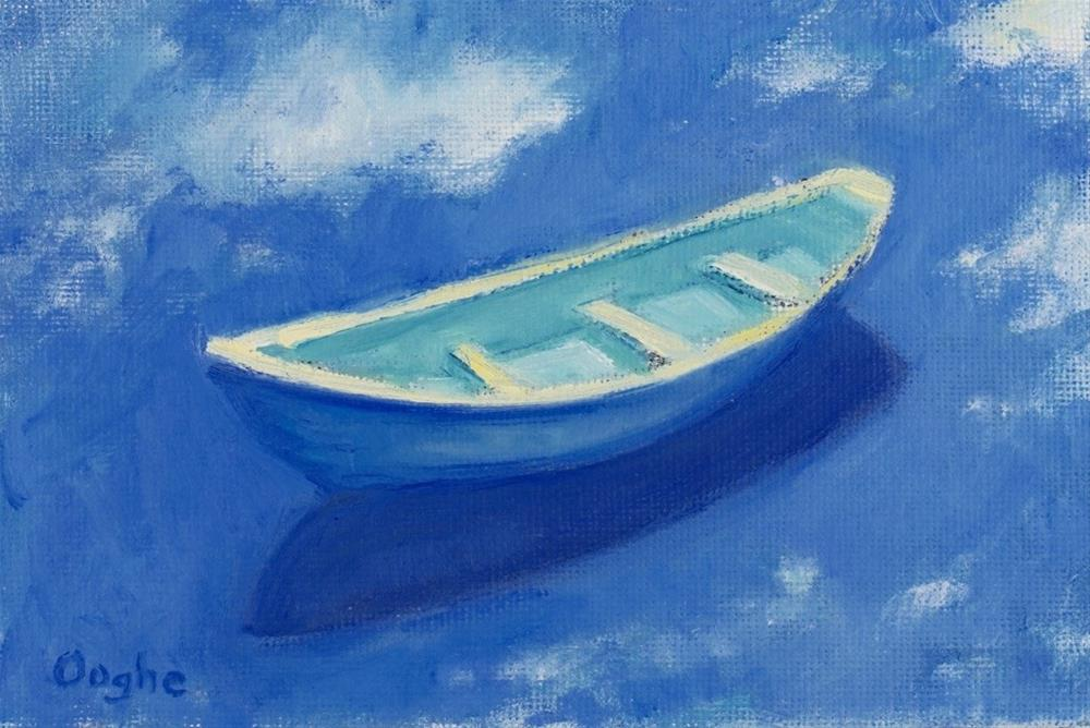 """Blue and Yellow Boat"" original fine art by Angela Ooghe"