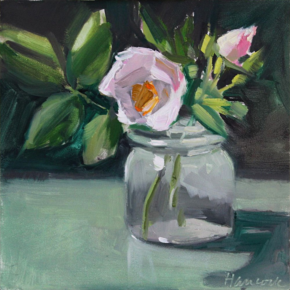 """Roses, Short Glass Jar"" original fine art by Gretchen Hancock"