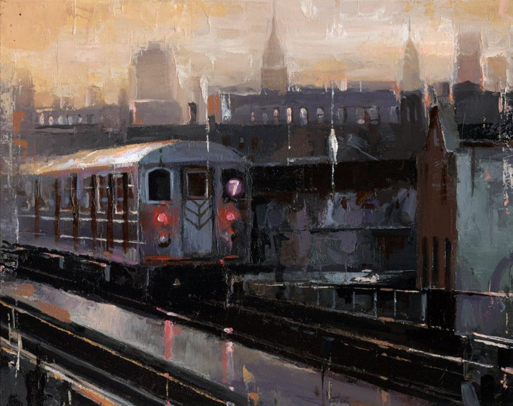 """NYC 7 Train"" original fine art by Victor Bauer"