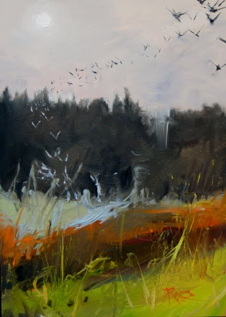 """Flock  landscape oil painting"" original fine art by Robin Weiss"