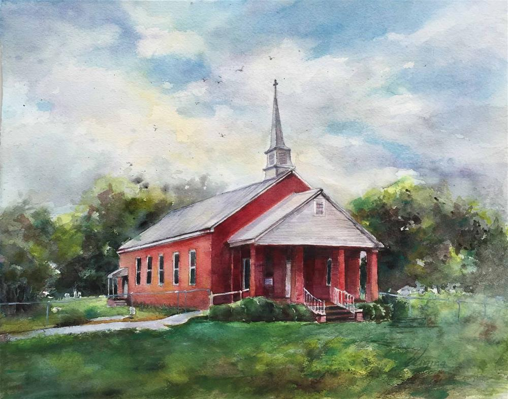 """Church"" original fine art by Wenqing Xu"